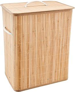 ONVAYA Panier à linge en bambou naturel 40 x 28 x 50 cm pliable, env. 53 litres avec sac à linge – Panier à linge – Économ...