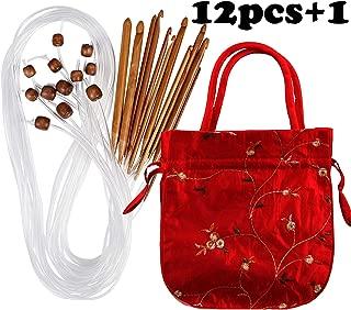 Case of Carbonized Bamboo Crochet Afghan Tunisian Crochet Hooks Set with Plastic Cable Bamboo Crochet Knitting Needles Hooks Kit Yarn Knitting Needles Set Scarf Blanket Garment 12 Sizes
