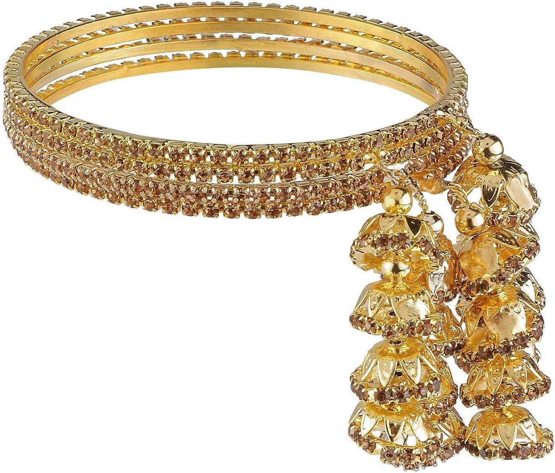 Efulgenz Indian Bollywood Traditional Rhinestone Crystal Wedding Jhumka Tassel Bracelet Bangle Set Jewelry