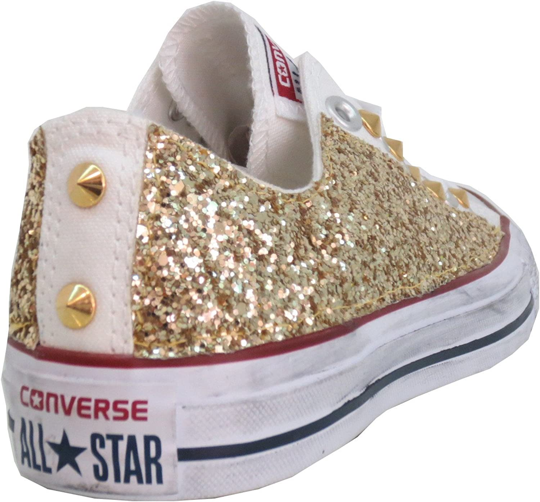 Converse all Star Basse Bianche Glitter Oro Borchiate con Borchie ...