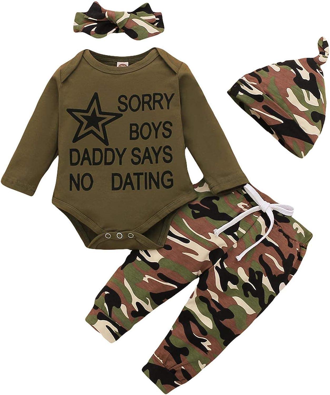 Baby Girl Camo Pant set Long Sleeve Romper Camouflage Pant with Headband 4PCS Sweatshirt Clothes Set