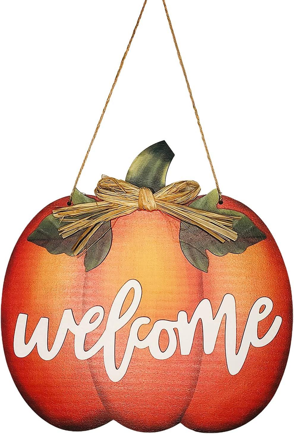 Halloween Pumpkin Welcome Sign- Wood Fall Sign Pumpkin Welcome Sign for Front Door Home Decor- Rustic Door Hanger Wreath for Porch/Wall/Farmhouse Decor Autumn Thanksgiving Harvest