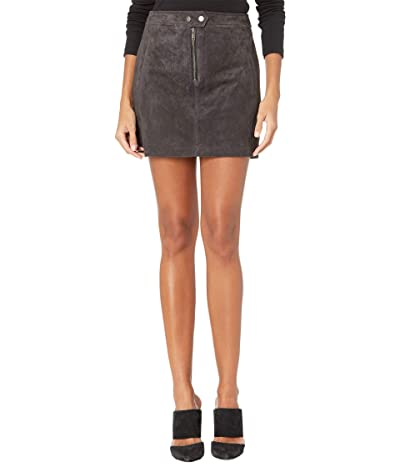 Blank NYC Real Suede Miniskirt with Zipper Front Detail (Moon Child) Women