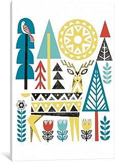 "iCanvasART WAC3901 Folk Lodge (Deer II) Gallery Wrapped Canvas Art Print by Michael Mullan, 26"" x 1.5"" x 18"""