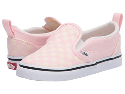 Vans Kids Slip-On V (Infant/Toddler) ((Checkerboard) Blushing/Classic White) Girls Shoes
