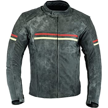 S Mens MOTORCYCLE LEATHER JACKET VINTAGE BIKERS STYLE DARK GRAY//RED DC-4088