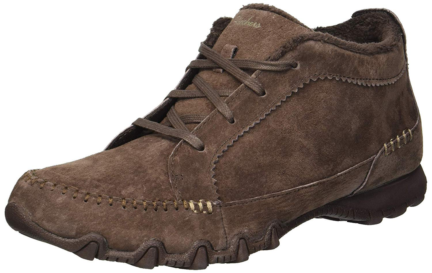 Skechers Womens Bikers Lineage Moc Toe Lace Up Chocolate