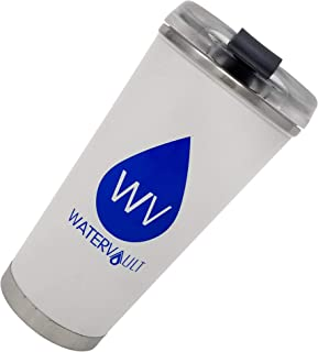 WaterVault Stainless Steel Tumbler with Straw and Leak Proof Lid - Vacuum Insulated Travel Mug Keeps Hot 12 Hours, Cold 24 Hours - 16 oz Matte White