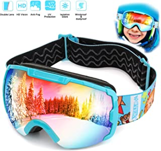 WOTEK Masque de Ski pour Enfant - Lunettes de Ski - Lunettes de Ski compatibles avec OTG et Double Couche - Protection UV ...