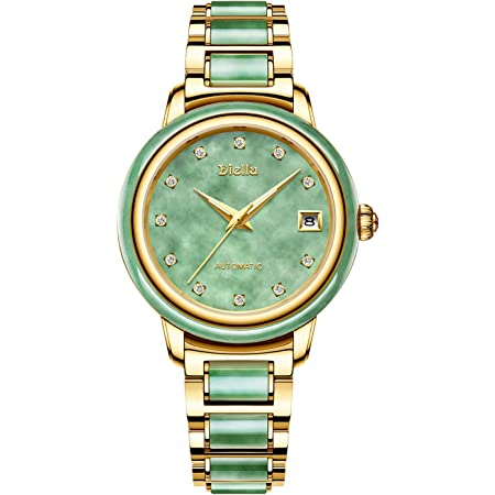 Diella Women's Automatic Mechanical Wrist Watches, 5ATM Waterproof Self Winding Japanese Movement Ladies Watches, Stainless Steel & Jade Wrist Band Watches with Sapphire Glass Mirror (Model:AD6001L)