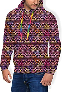 GULTMEE Men's Hoodies Sweatershirt, Funky Quirky Triangles Bohemian and Inspired Motif,5 Size
