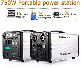 KRITOMONA Portable Power Station Explorer 750, 110V/750w(1000W Peak) UPS/Pure Sine Wave AC Outlet, 4 USB, 12V/4DC, LED Flashlight,Solar Generator for Outdoors CPAP Camping Travel Hunting Emergency