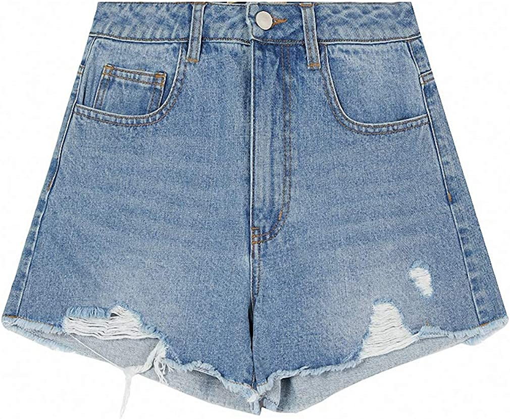 Sky Blue Frayed Denim Women Shorts Pockets Rainbow Print Streetwear Shorts Female Summer Cotton Bottoms