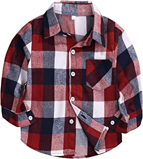 MAMAMI Kids Little Boys Girls Baby Long Sleeve Button Down Red Plaid Flannel Shirt Plaid Girl Boy NB-6T