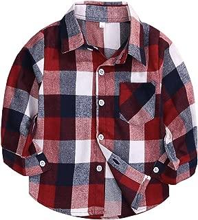 Mini honey Kids Little Boys Girls Baby Long Sleeve Button Down Red Plaid Flannel Shirt Plaid Girl Boy NB-4T