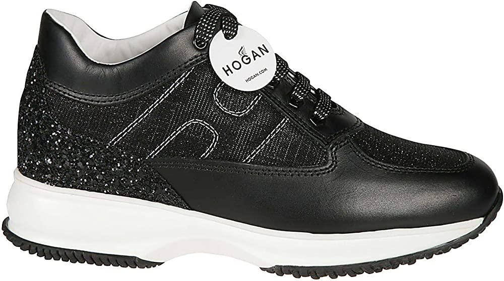 Hogan luxury fashion donna nero pelle sneakers HXW00N00E10KFHB999