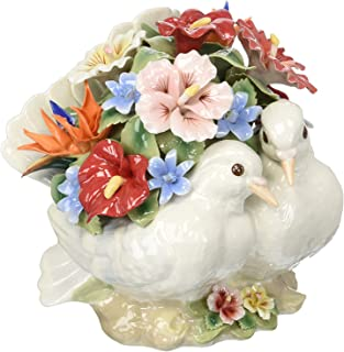 Cosmos Gifts Fine Porcelain Double White Dove with Bouquet of Flowers Music Box Figurine, Pachelbel's Canon in D Music Tune, 6-5/8
