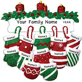 Hobby Home Accessories Personalized Red Green Mitten Family Christmas Tree Ornament Free Personalized (Family of 12)