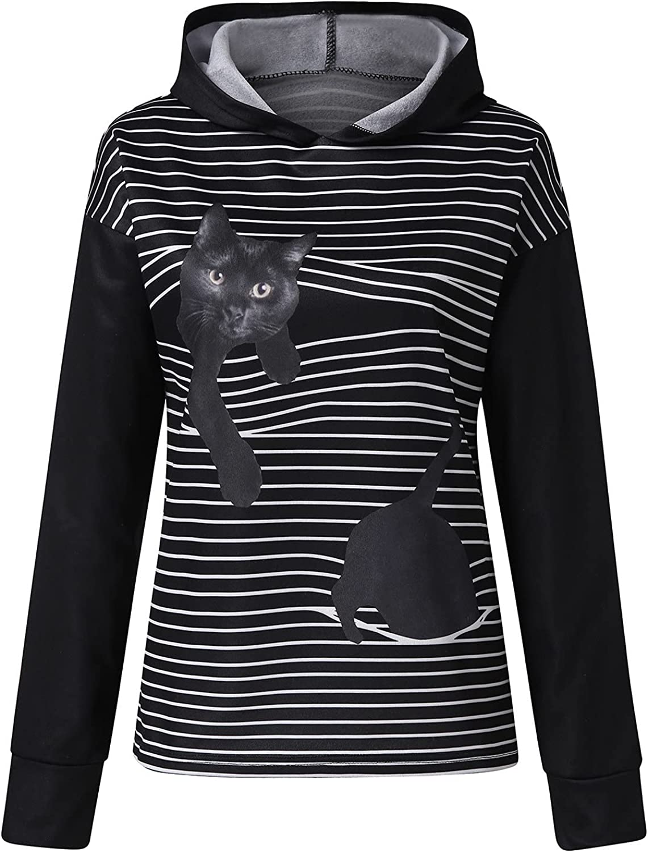 Hoodies for Women Playful 3D Cat Print Stripe Pullover Loose Long Sleeve Comfy Sweatshirt Casual Activewear