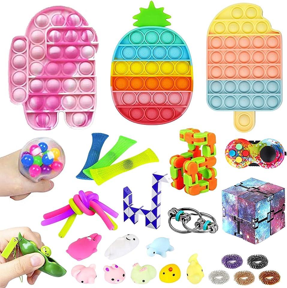 Pop Bubble Anti Stress Fidget Toy Set, Sensory Fidget Toy with Marble Mesh Pop Tubes Fidget Spielzeug für Kinder