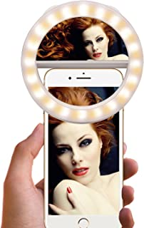Selfie Ring Light [Rechargeable Battery] Selfie LED Light with Makeup Mirror 40 LED [Warm &White] Lighting for Phone Camera Photography, Live Streaming, Video-White