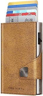 TRU VIRTU® Tarjetero Click & Slide Glitter marrón Dorado/Plata I Estuche para Tarjetas de crédito I con protección RFID-NF...
