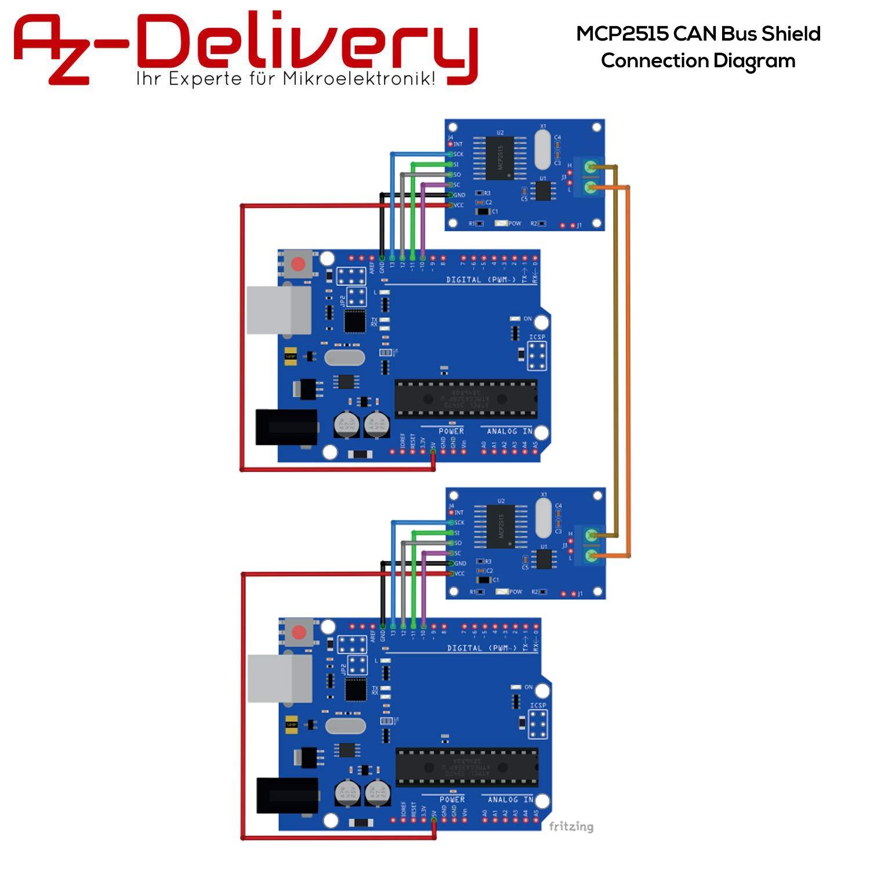 Pack of 3 AZDelivery Mini MCP2515 CAN Bus Module TJA1050 SPI Receiver 5V TE534 5mA Development Board Compatible with Arduino Including E-book!