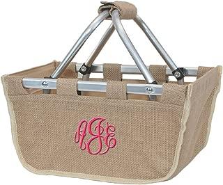 Monogrammed Burlap Mini Market Picnic Tote Basket Beige