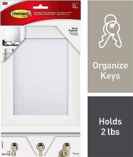 Command Mirror Organizer, Quartz, 1-Organizer with Key Hooks, 8-Medium Strips (HOM24MQ-ES), Great for dorm decor