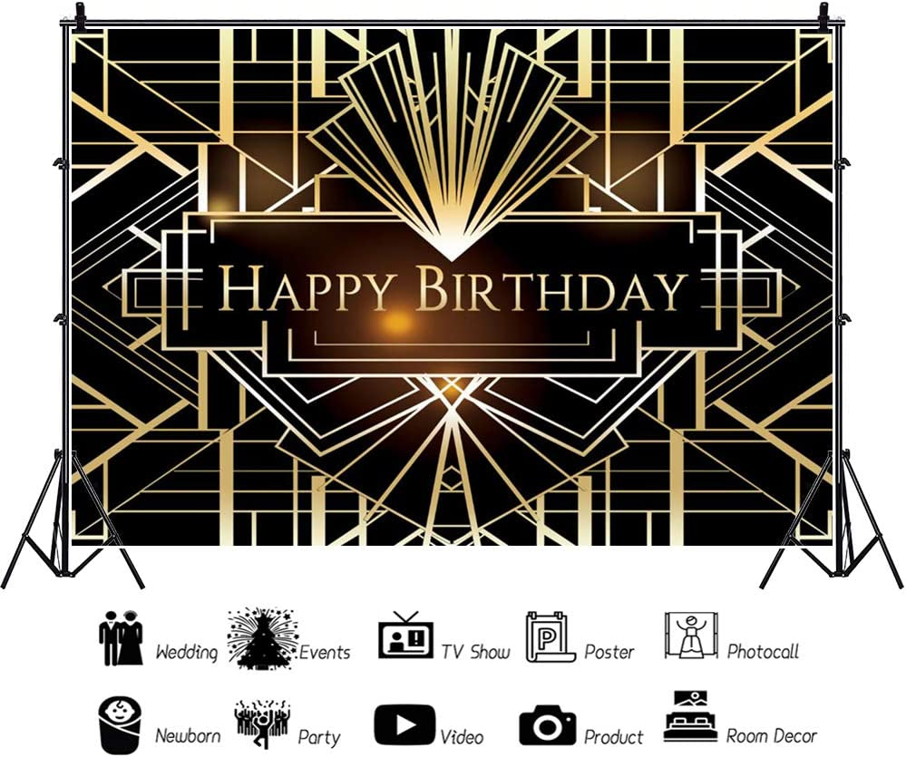Renaiss 12x10ft Happy Birthday Backdrop Gatsby Style Shiny Birthday Black and Gold Supplies Banner Photography Background for Man Women Party Celebration Decorations Photo Shoot Studio Props
