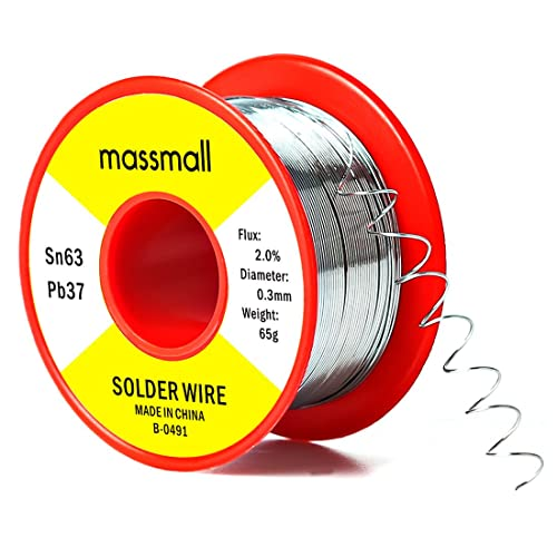 massmall Sn63 Pb37 Tin Lead Rosin Core Solder Wire for Electrical Solderding 0.0119inches(0.3