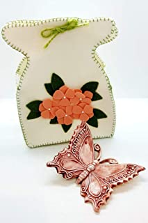 Farfalla Ceramica + Sacchetto in feltro Artigianale Decorata a mano Le Ceramiche del Castello Nina Palomba Made in Italy D...