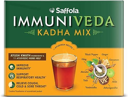 Saffola Arogyam Immuniveda Kadha Mix 80G 20 Sachets X 4G Ayurvedic Immunity Booster Herbal Tea With Ayush Kwath