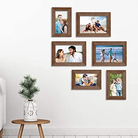Art Street Classy Memory Wall Photo Frames Set of 6 (3 Unit 4X6, 3 Units 5X7, Brown)
