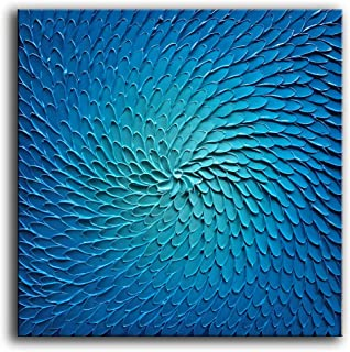 baccow 3030inch Blue Abstract Paintings Big Hand Painted 3D Metal Wall Art Abstract Florals Wall Painting Pictures Framed Hanging Wall Decoration for Living Room Bedroom Bathroom Office