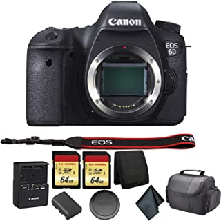 Canon EOS 6D DSLR Camera Bundle Kit with 2X 64GB Memory Cards + Carrying Case + More - International Model