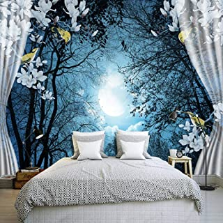 3D wall mural wallpaper natural scenery peace night forest moon 3D room landscape photo wallpaper-300cm(W) x250cm(H)