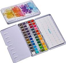 MEEDEN Watercolor Paint Set Art Watercolor Tin Palette with 48 Colors Half Pan Paints Navy Blue Enamel Exterior, Portable ...