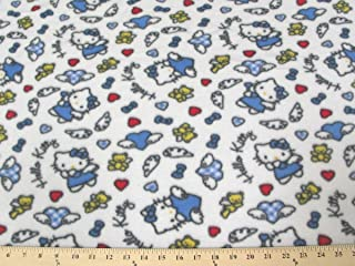 Hello Kitty Angel Blue Fleece Fabric A76