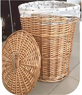 TOKYO HOT Dirty Laundry Storage Basket Home Storage Simple Decoration Organizer Garden Pot Wicker Laundry Bag Laundry Hamper with Lid,Light Yellow,L