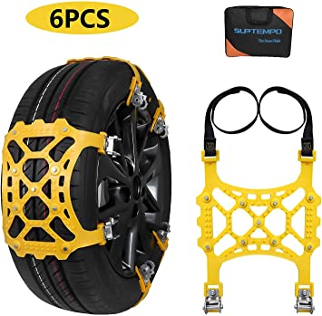 SUPTEMPO Car Snow Chains, 6Pcs Emergency Anti Slip Tire Traction Chains TPU Snow Chain for Light Truck/SUV/ATV Winter Universal Tire Security Chains: image