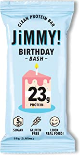 Jimmy! Clean Protein Bars, Birthday Bash, Birthday Cake Energy Bars, 23g Protein, Low Sugar, Gluten Free, 12 Count