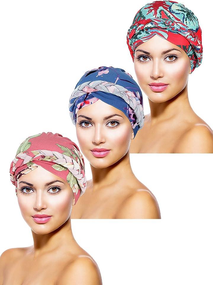 3 Pieces Women Turban Head Wrap Pre-Tied Bonnet Beanie Hat Sleeping Cap Headwrap