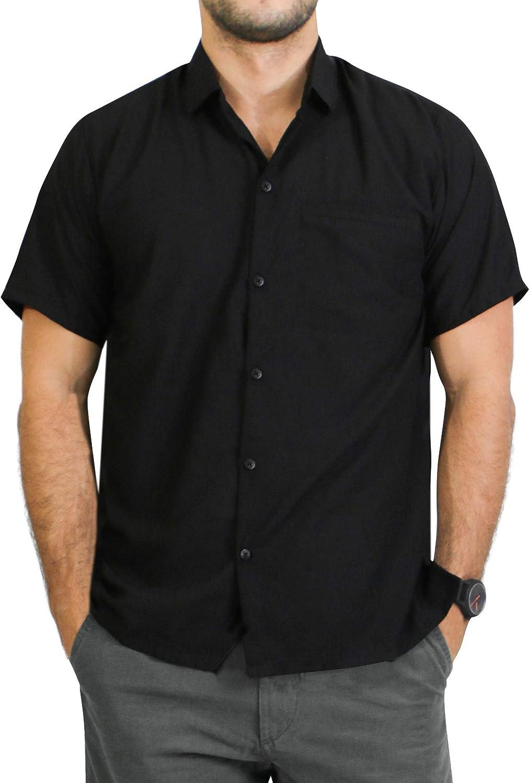 LA LEELA Seasonal Wrap Introduction Men's Cool Casual Shirt Sleeve Short Hawaiian Reservation Aloha