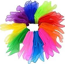 Bufandas de Baile,20 Pack Colores Pañuelos de Baile Seda Pañuelo de Malabares Cuadrados Mágicas Banda para Infantes Niños de Jardín Damas Femeninas Mostrar Danza Vientre 60 * 60cm