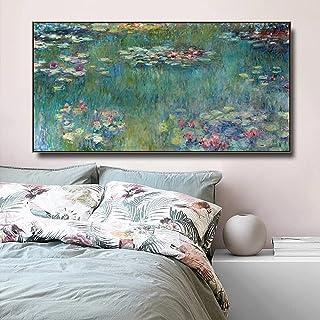 Impressionism konstnär Monet Vatten Lotus Blommor Pool Landskap Canvas Målning Väggkonst Poster Sovrum Vardagsrum Kontor S...