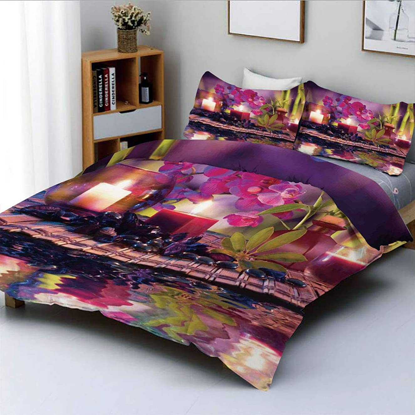 Duplex Print Duvet Cover Set King Size,Violet Composition Candles Oil Orchids and Bamboo on Water Natural LeavesDecorative 3 Piece Bedding Set with 2 Pillow Sham,Best Gift for Kids & Adult
