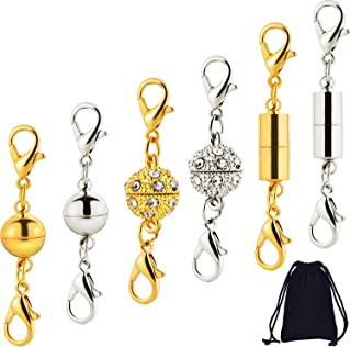 Magn/étique Fermoir /à Boucle,10 Pack Bijoux Fermoir Magn/étique Converter Bijoux en Strass Extender Chain Lobster Clasp pour Collier Bracelet Argent Or