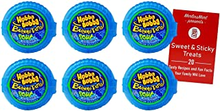 Hubba Bubba Chewing Gum Tape Roll   Sour Blue Raspberry 6 Pack (2 Ounces)   Plus Recipe Booklet Bundle
