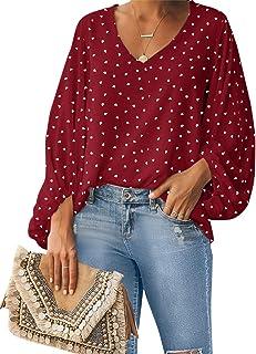 Style Dome Camisas para Mujer Verano Camiseta Manga Larga Blusa de Gasa con Escote en V Estampado Lunares Moda Tops Mujer ...